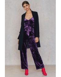70eecdd2d8bd NA-KD - Velvet Thin Strap Jumpsuit Dark Purple - Lyst