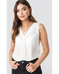 Trendyol - Sleeveless V Neck Top White - Lyst