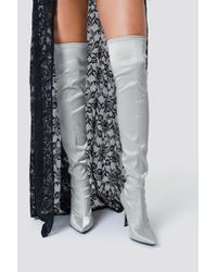 NA-KD - Satin Overknee Boots Silver - Lyst
