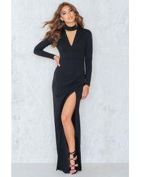 Goddiva - V Neck Cutout Long Sleeved Maxi Dress - Lyst