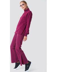 NA-KD - Slit Embroidery Sweatpants Burgundy - Lyst