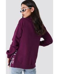 NA-KD - Slit Embroidery Sweatshirt Bordeaux - Lyst