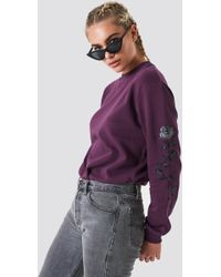 NA-KD - Rose Embroidery Sleeve Sweater - Lyst