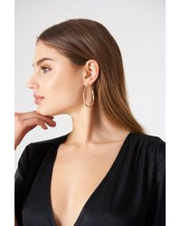 NA-KD - Oval Structured Hoop Earrings - Lyst