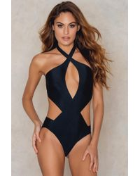 NA-KD - Twisted Front Cut Out Swimsuit - Lyst