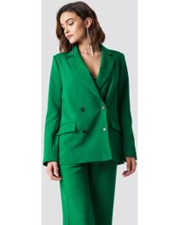 NA-KD - Double Breasted Oversized Blazer Green - Lyst