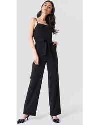 0f85dd0756 New Look Black Ruffle Strap Jumpsuit in Black - Lyst
