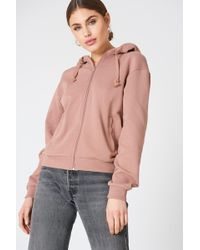 NA-KD - Basic Zipped Hoodie Dusty Dark Pink - Lyst