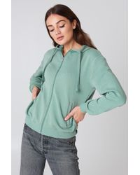 NA-KD - Basic Zipped Hoodie Duck Green - Lyst