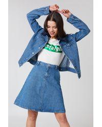 NA-KD - A-line Midi Denim Skirt Mid Blue - Lyst