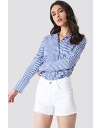 Mango - Frayed Denim Shorts White - Lyst
