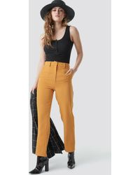 NA-KD - High Waist Suit Trousers Yellow - Lyst