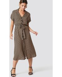 Mango - Harp Midi Dress Camel - Lyst