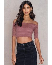 NA-KD - Cropped Lace Top Purple - Lyst