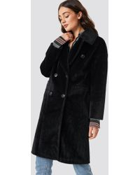 NA-KD - Hairy Double Breasted Coat Black - Lyst