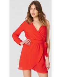 Trendyol - Single Arm Belted Dress Vermilion - Lyst