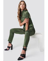 Glamorous - Shortsleeve Jumpsuit Khaki - Lyst