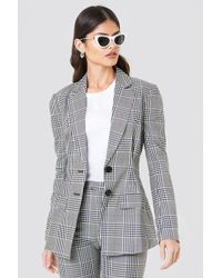 NA-KD - Gathered Waist Checkered Blazer - Lyst