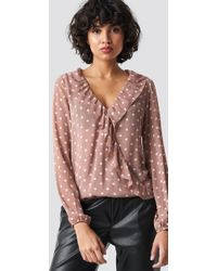 Rut&Circle - Frill Wrap Blouse Old Rose - Lyst