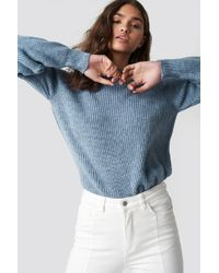NA-KD - Crew Neck Knitted Sweater Stone Blue - Lyst