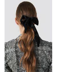 NA-KD Velvet Bow Scrunchie Black