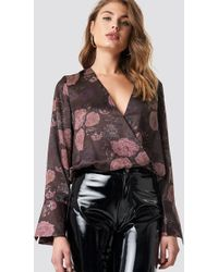 NA-KD - Wrap Satin Top Multicolor - Lyst