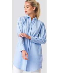 Mango - Lines Shirt Light Blue - Lyst
