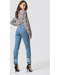 NA-KD - Branded Jeans Mid Blue - Lyst