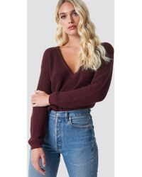 NA-KD - Deep Front V-neck Knitted Sweater Burgundy - Lyst