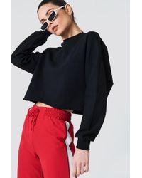 NA-KD - Raw Hem Batwing Sweatshirt Black - Lyst