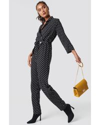 Trendyol - Dot Patterned Jumpsuit Black - Lyst