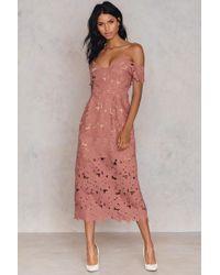 NA-KD - Cold Shoulder Crochet Midi Dress - Lyst