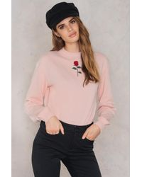 NA-KD - Chest Rose Embroidery Sweater - Lyst