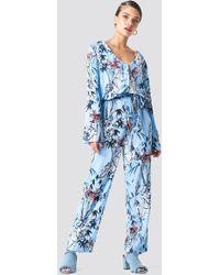 Trendyol - Tie Waist Patterned Jumpsuit Blue - Lyst