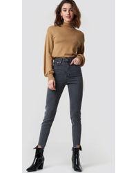 NA-KD - High Rise Slim Asymmetric Hem Jeans Grey - Lyst