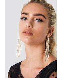 NA-KD - Long Multichain Rhinestone Earrings - Lyst
