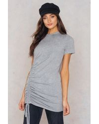 Boohoo - Rouched Side T-shirt Dress Grey - Lyst