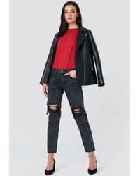 Glamorous - Distressed Baggy Jeans Charcoal - Lyst