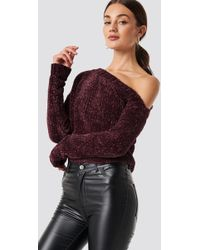 Rut&Circle - Chenille Off Shoulder Knit Wine Red - Lyst