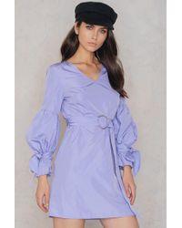 351885a232 SHEIN - Tie Sleeve Belt Dress Lavender - Lyst