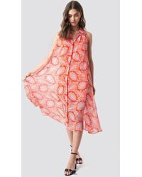 Mango - Bengala Dress Orange - Lyst