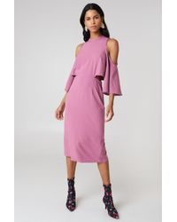 NA-KD - Cut Out Tied Neck Dress Dusty Purple - Lyst