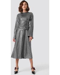 84299afd423d NA-KD - Gathering Detail Sequins Midi Dress Silver - Lyst