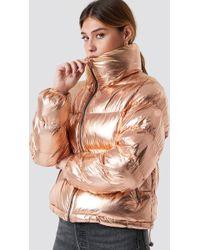 Glamorous - Puffy Short Padded Jacket Rose Gold - Lyst