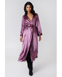 NA-KD - Wide Sleeve Satin Coat - Lyst