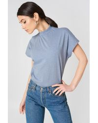 NA-KD - High Neck Cap Sleeve Top Stone Blue - Lyst