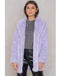 NA-KD - Colored Faux Fur Coat Purple - Lyst