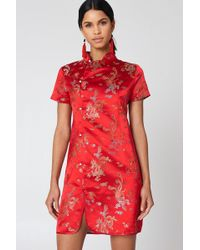 NA-KD - Cheongsam Mini Dress Red - Lyst