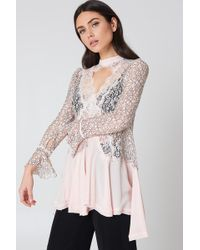 Free People - New Tell Tale Lace Long Sleeve Tunic Pearl - Lyst
