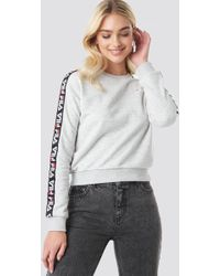 658666245f997 Fila Dina Velour Crew (gray Heather/black/white) Clothing in Gray - Save  31% - Lyst